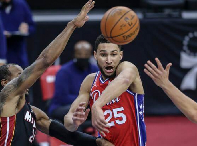 Simmons Triple Double Leads 76ers Over Heat 125-109